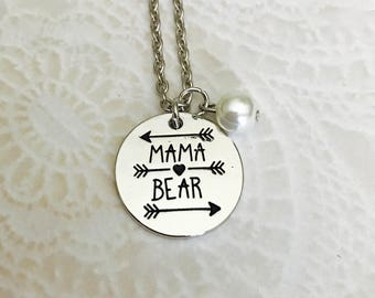 Mama Bear Necklace with pearl or choice of birth month
