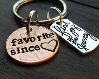 Custom Favorite Best Friend Lucky Penny Keychain, Best Friend Gift, BFF Gift, Boyfriend Gift, Girlfriend Gift, Besties Gift, Bff Since
