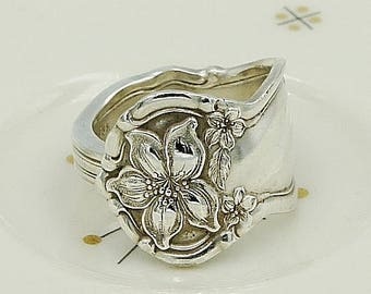 """Floral Silverware Flatware Jewelry Antique Vintage Spoon Ring Band For Vintage Lovers """"Orange Blossom"""" Year 1910"""