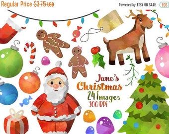 50% OFF Watercolor Christmas Clipart - Cute Christmas Download - Instant Download - Christmas Graphics - Santa - Rudolf - Stocking - Ornamen