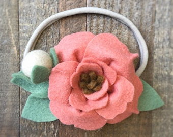 Baby Boho Headband, Baby Flower Headband, Boho Flower Crown, Baby Headband, Newborn Headband, Infant Toddler Headband, Felt Flower Headband