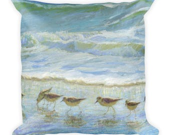 Square Pillow, Sandpipers, a Day at the Beach