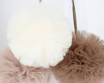 2 medium and 3 small tulle pom pom set / wedding party decorations pom poms - your colors - value set