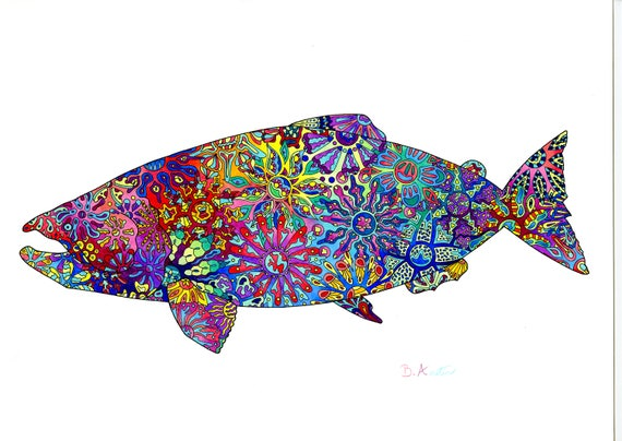 Salmon Art Print - King Salmon Alaskan Wall Art