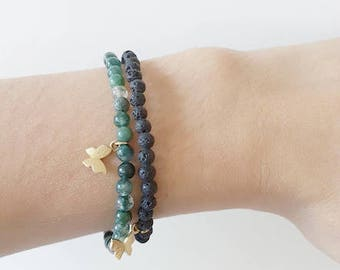 Minimal black Lava beads or green agate beads bracelet with 24K gold plated butterfly charm