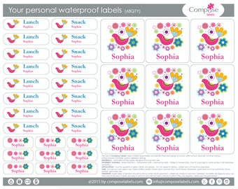 Bird colorful - Your personal waterproof labels (68 Qty) Free Shipping