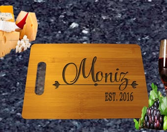 Last Name Est. Date Cutting Board perfect for housewarming gift