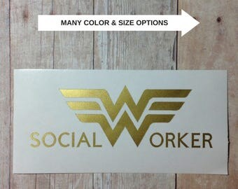 Wonder Woman Social Worker Vinyl Car Decal Sticker | Laptop  Phone Tumbler Window YETI Keyboard