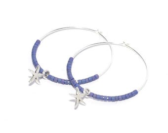 Créoles perles miyuki navy blue et breloques étoiles de mer