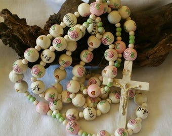 Personalized Hand Painted Wood Rosary