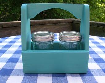 Jelly Jar Wood Caddy - Mason Jar Holder - Teal - Gift Caddy, Centerpiece