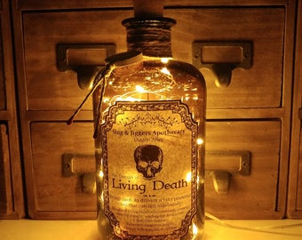 500ml Harry Potter Slug & Jiggers Diagon Alley Apothecary Draught Of Living Death LED Bottle Lamp Light
