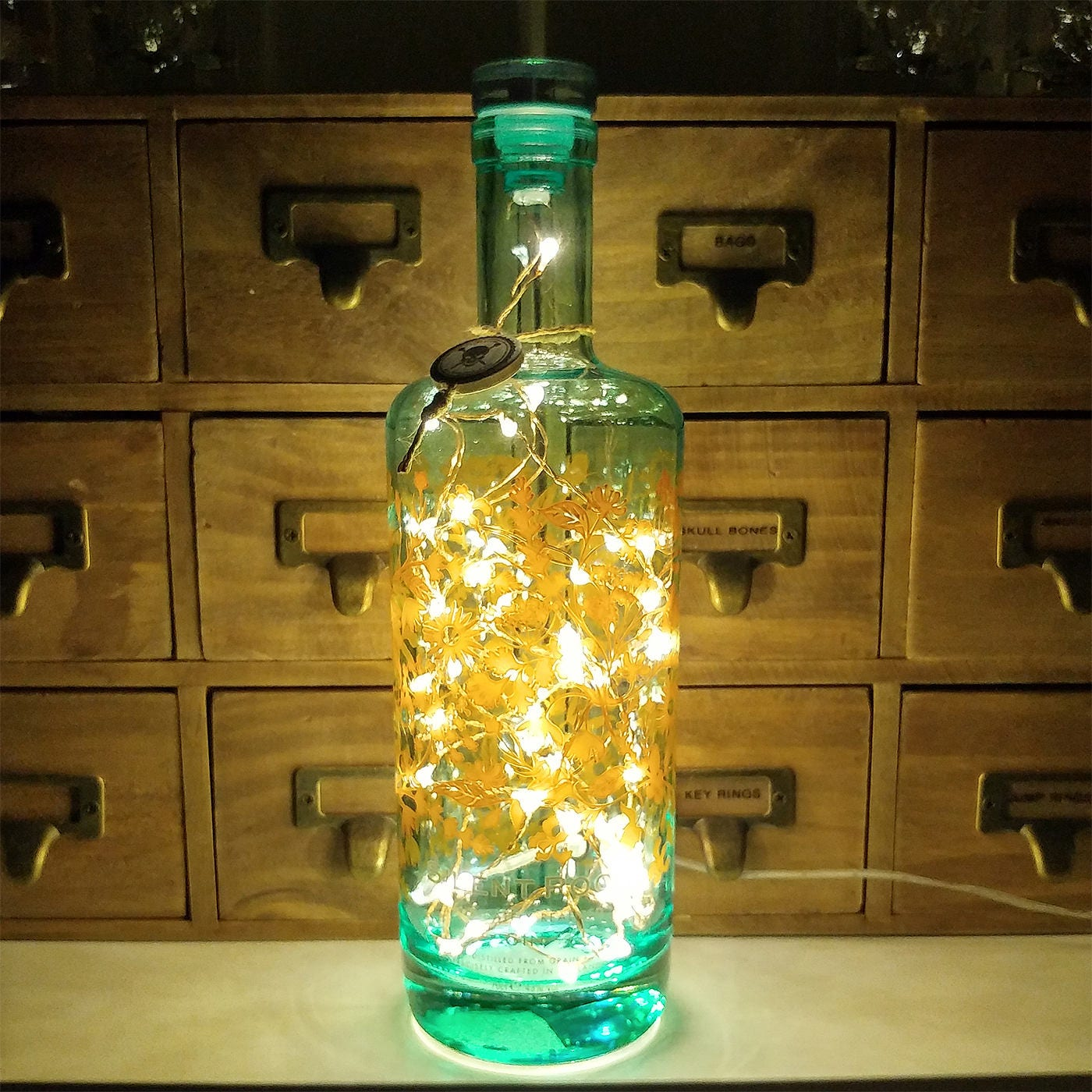 Silent pool gin warm white upcycled led bottle lamp light by - Silent pool gin ...