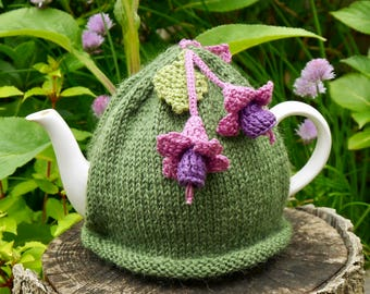 Fuchsia Flowers Tea Cosy, Hand Knitted Tea Cosies