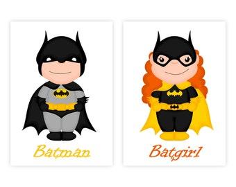 Kids room wall art prints download nursery decor printable wall art set kids room prints wall art super hero superhero Batman and Batgirl