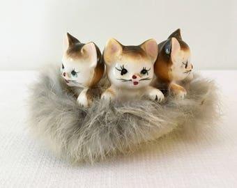 Vintage 3 Kittens in Basket Ceramic Figurine Japan