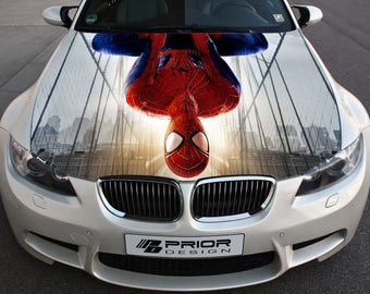 Vinyl Car Hood Full Color Wrap Graphics Decal Spider-Man Sticker