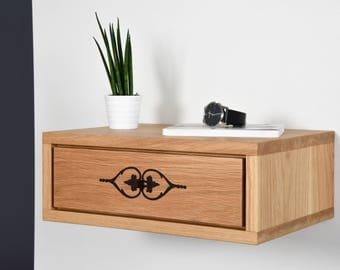 Bedside / Floating bedside with drawer inlaid / Nightstand in solid oak / Console floating with drawer / Side table modern mid century