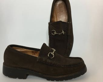 6.5/7 GUCCI Suede Loafers