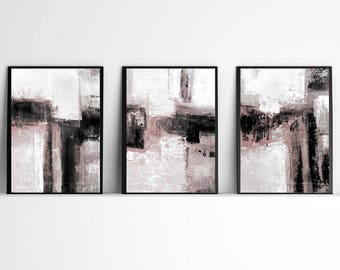 Abstract Art, Set of 3 Prints, Black & White  and pink Wall Art Prints, Minimalist Art Abstract Painting, Scandinavian Prints, gray