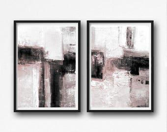 Abstract digital , pink and grey painting, digital download print, abstract printable, minimalist art, printable art, large abstract set