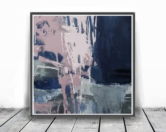 Digitat  abstract, contemporary art, scandinavian , mint, PRINTABLE , Abstract art , blush pink and blue art , wall decor,pink and navy blue