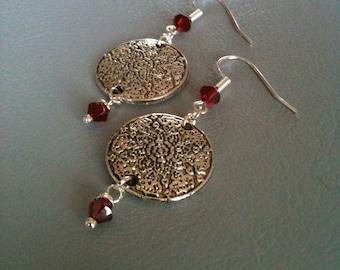 Boheemes, boho, carmine red Swarovki Crystal and Silver earrings