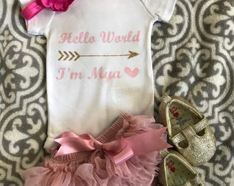 Personalized Hello World baby white onesie with gold glitter arrow | Newborn outfit | Take home outfit | Baby shower present