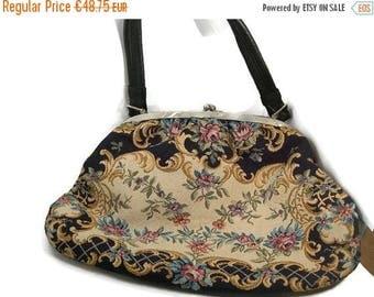 Vintage Tapestry Top Handle  Bag, Floral Bag, Woman's Accessory , Evening Bag, Gift Idea, Vintage Purse 1950s Handbag