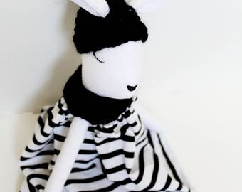 Bunny ,Tilda bunny , Handmade doll, Winter collection, Woodland stuff doll,  Rag doll, Black&White ,Striped dress, Easter idea, Cotton dress