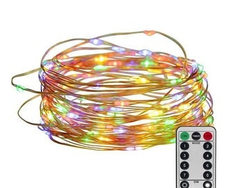 100 LED 33 Feet Copper Wire String Fairy Light with Remote Control Battery Operated Multi Color USA Seller