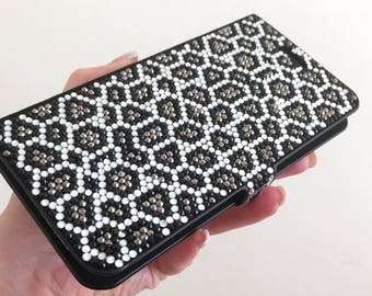 Leopard Black White Silver Gray Bling Swarovski & Czech Crystals Handmade Cards Wallet Case Rhinestones Jewel Gem Galaxy S8 Flip Cover