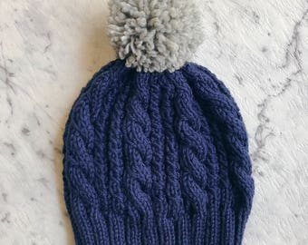 Adult Chunky Cable Knit Winter Beanie
