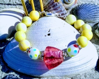 Pink Lava Glass with Pale Yellow Agate and Multi-Color Glass Beaded Bracelet