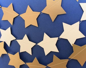 Gold & White Stars Garland 3m or 6m