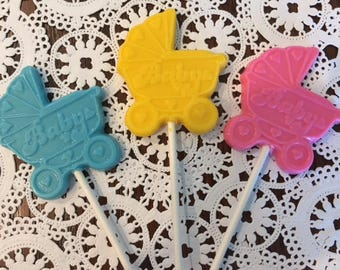BABY CHOCOLATE Lollipops(12 qty) -Baby Carriage/ Baby Announcement/Gender Reveal/Baby Shower Favor/It's A Boy/It's A Girl/Baby Gift/New Baby
