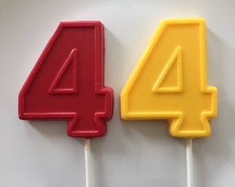NUMBER FOUR Chocolate Lollipops(12 qty) - 4th Birthday/Fourth Birthday Favors/Number 4 Lollipops/Kids Fourth Birthday/Birthday Party Favor