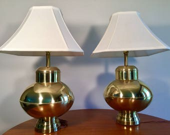 Large Hollywood Regency Brass Lamps