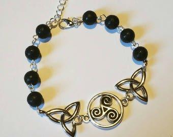 Celtic Bracelet: Lancelot (genuine lava bead)