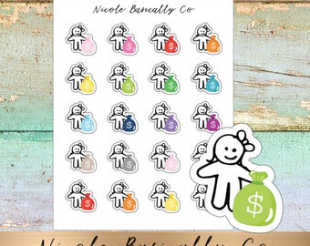 Cutie Pies- Pay Day- Rainbow Money Bags- Planner Stickers
