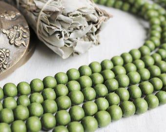 4mm wood beads, green beads, mossy green beads, earthy beads, earthy green beads, boho beads, yoga mala beads,