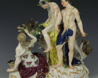 """Antique Meissen Figurine 2724 """"Silenus on Donkey"""""""