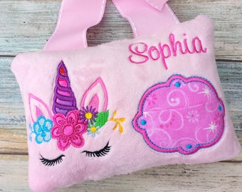 Unicorn tooth fairy pillow.Personalized unicorn tooth fairy pillow.
