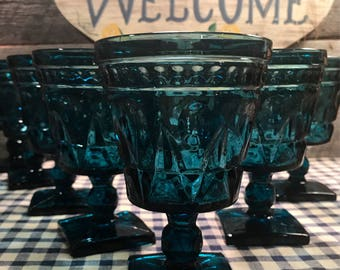 1960's Set of 7 (SEVEN) BEAUTIFUL Blue Park Lane WATER Glasses/Goblets by Colony- Indiana Glass, barware, cottage, shabby chic,
