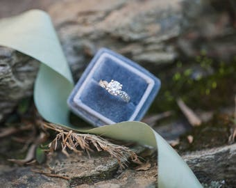 Ring Box - Velvet Ring Box - Vintage Style - Proposal Ring Box - Engagement ring box - Wedding - Personalized Gift - Gray