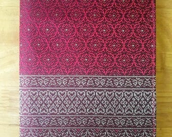 Handmade Red Thai Woven Silk Book Cover Book Case With BookMark Ribbon