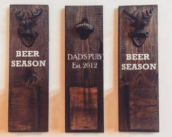 Beer Season Wood Bottle Opener Sign