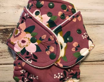 Floral Mauve Pink Green Hybrid Fitted Cloth diaper FDR Organic One Size OS Girly Flowers