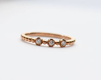 18k Rose Gold Ring, Three Stone Ring, Diamond Ring, Stacking Ring, Minimalist Ring, Rose and Choc Ring, Engagement Ring, Wedding Ring