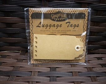 Vintage scalloped luggage tags with twine. Packet of 10.